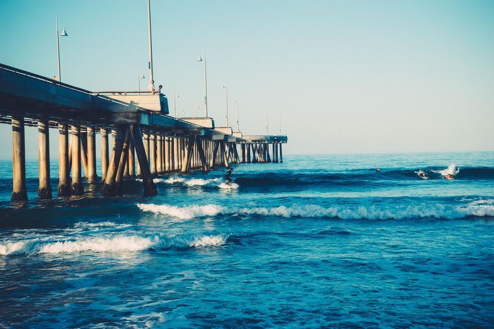 beach, surfing, surfer, waves, water, ocean, sea, pier, sunshine