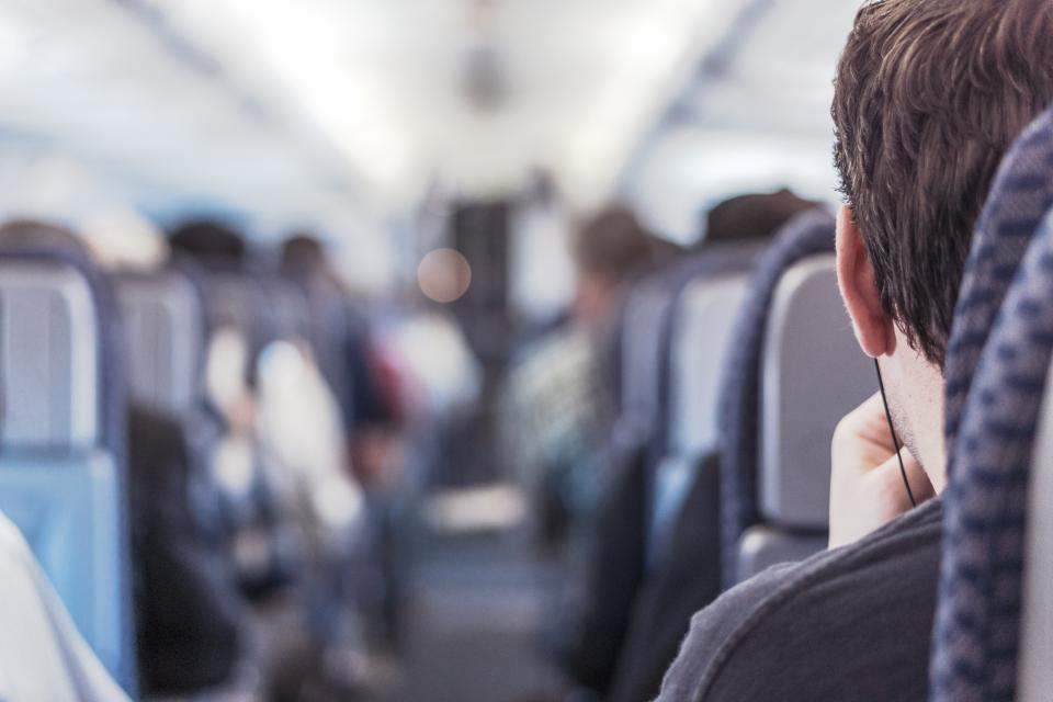 airplane, aisle, seats, travel, transport, trip