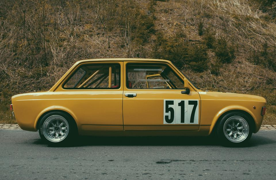technology, cars, vehicles, automotive, sedan, yellow, numbers, road, street, slope, grass, vintage