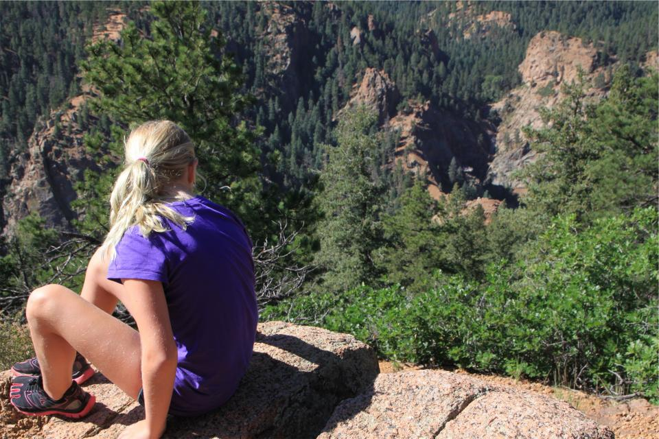 hiking, hiker, fitness, outdoors, nature, trees, cliffs, rocks, girl, blonde, ponytail, shorts, tshirt, people