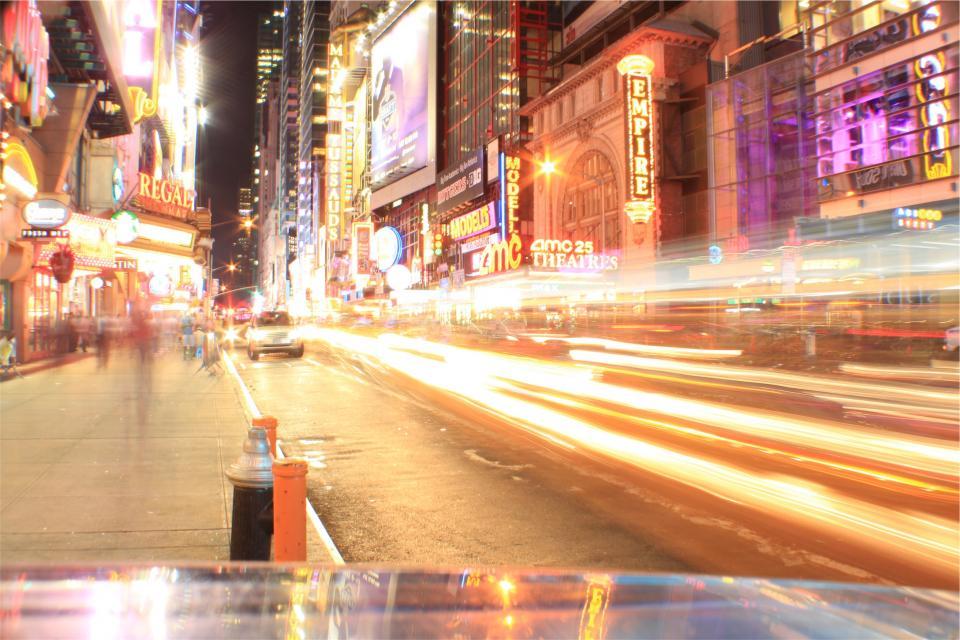 downtown, city, lights, night, evening, signs, LED, neon, cars, street, sidewalk, entertainment