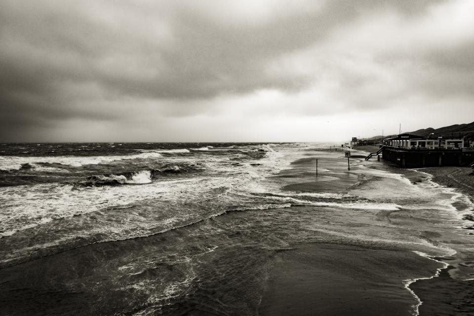 ocean, sea, waves, shore, coast, storm, cloudy, clouds, black and white, nature, landscape