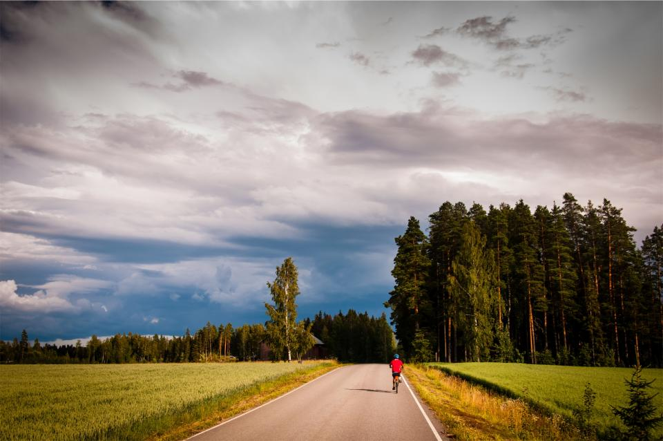 cyclist, cycling, bicycle, bike, biking, fitness, exercise, fields, grass, rural, road, forest, trees, sky, clouds, sunshine