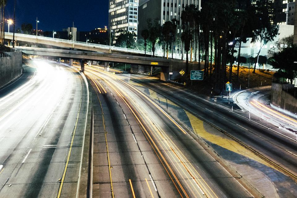 road, highway, offramp, lights, buildings, city, night, dark