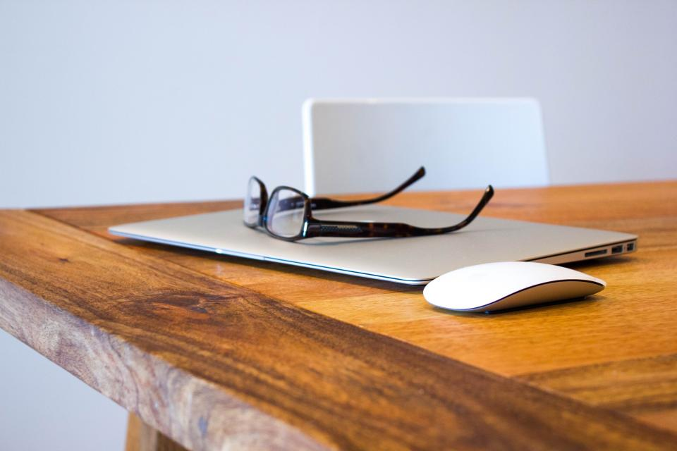 macbook air, glasses, mouse, wood, table, desk, chair, technology, business