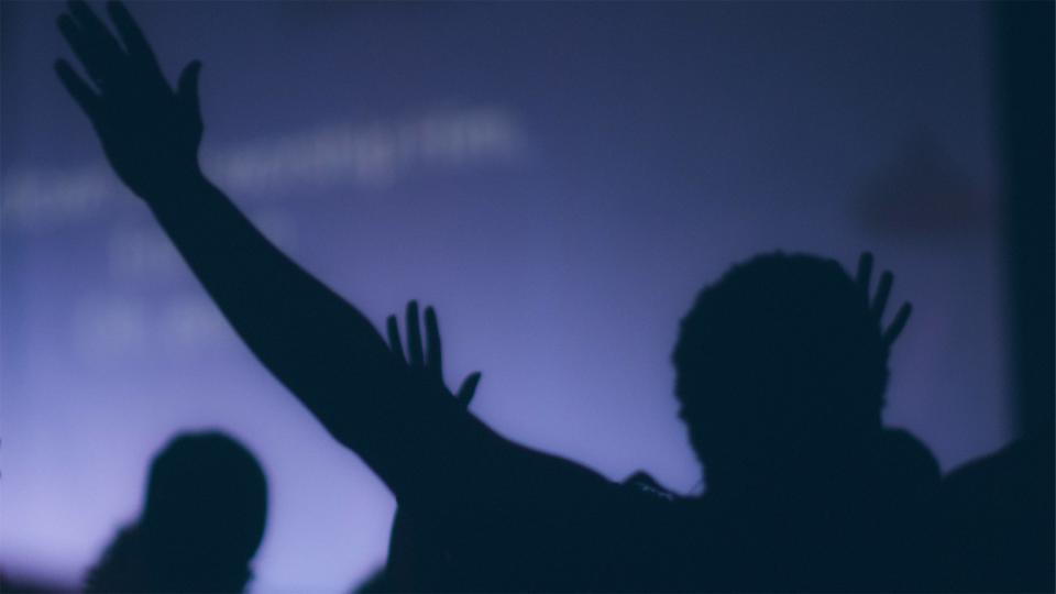 people, silhouette, hands up, crowd, dark, party