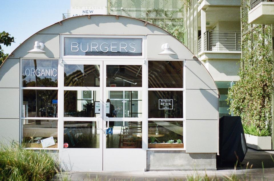 restaurant, burgers, organic, windows, eating, white, sunny, santa monica