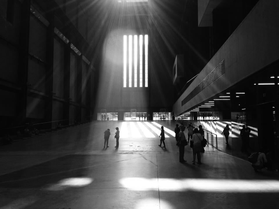 building, architecture, skylight, sunlight, people, walking, black and white