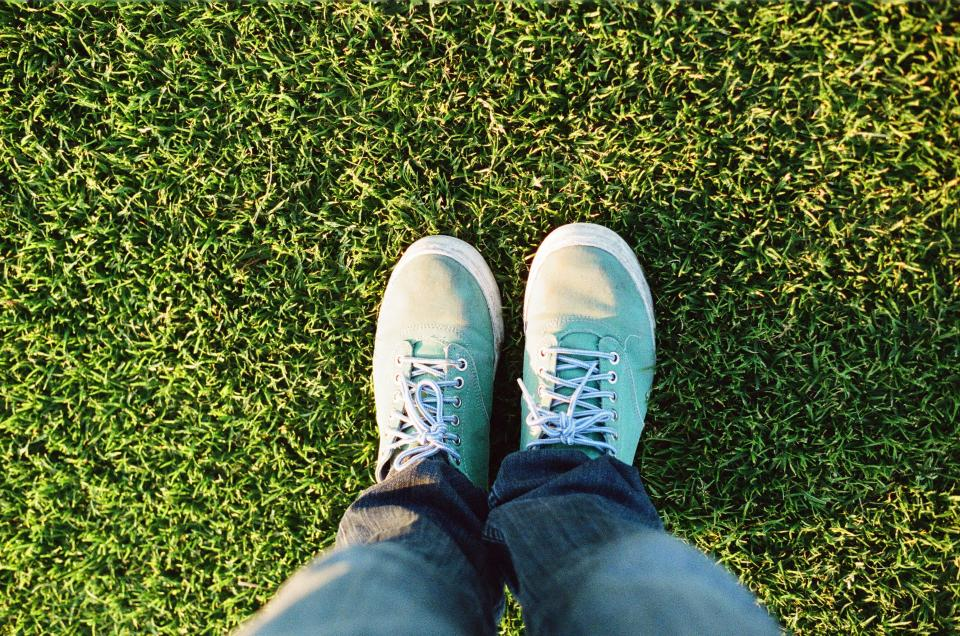 shoes, sneakers, laces, turquoise, jeans, pants, feet, grass