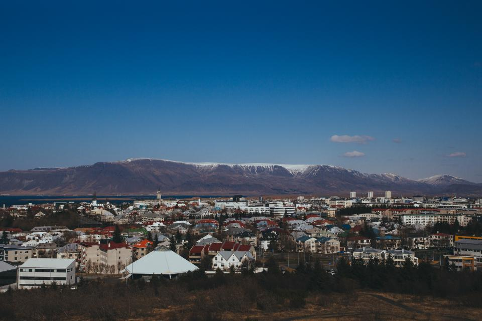 iceland, mountains, city, town, buildings, skyline, view, peaks, valleys, sky