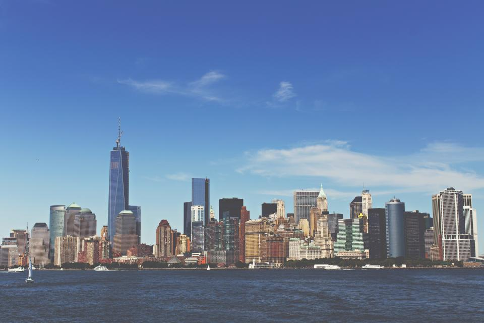 new york, blue, sky, clouds, city, buildings, skyscrapers, water, boats, yacths, skyline, architecture