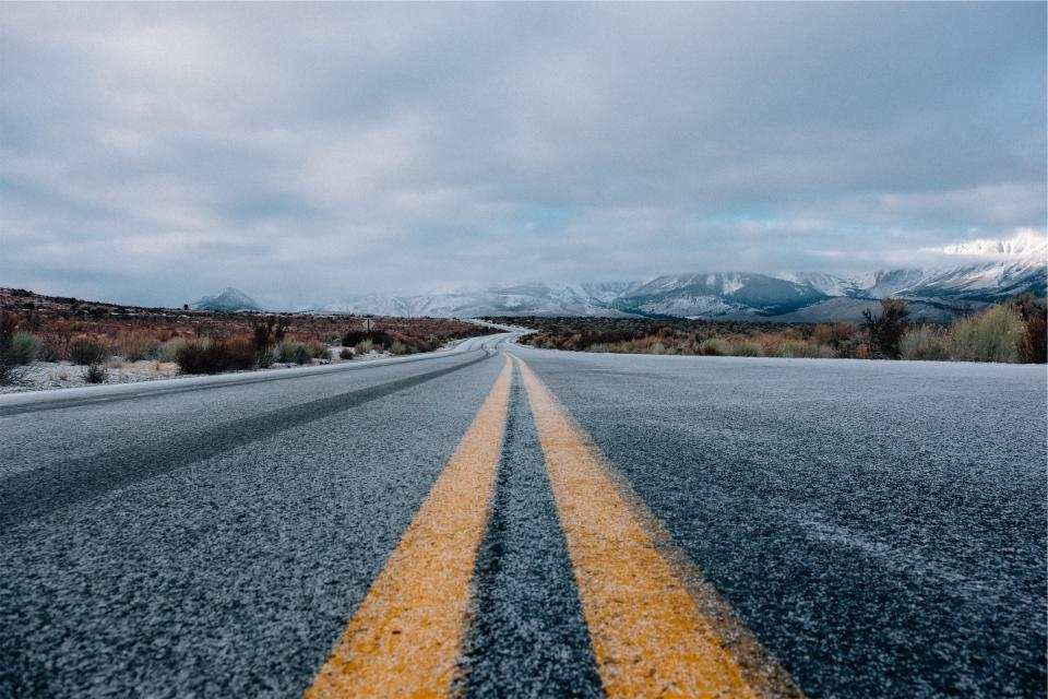 road, pavement, mountains, sky, clouds, snow, cold