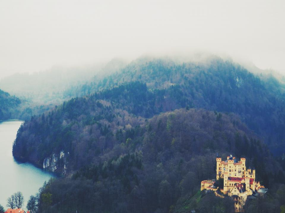 castle, landscape, trees, hills, nature, architecture, lake, water, fog