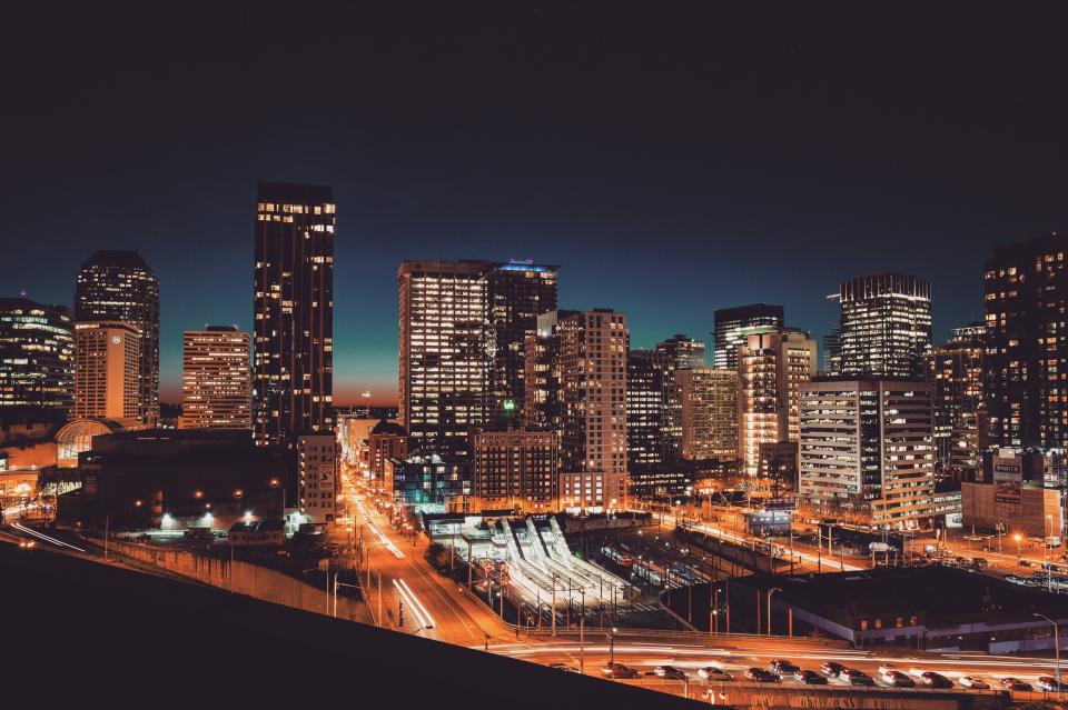 cityscape, buildings, architecture, city, urban, downtown, lights, high rises, towers, dark, night, evening, roads