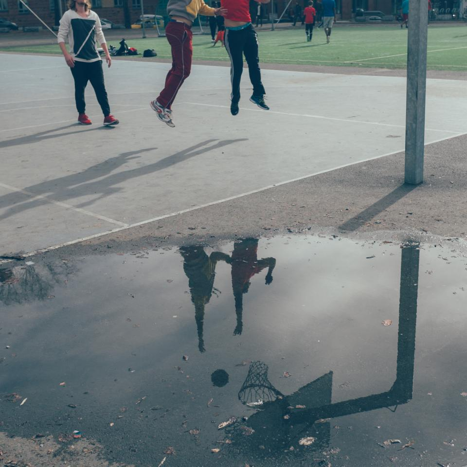 basketball, court, sports, athletes, fitness, exercise, fun, jumping, reflection, puddle, oslo