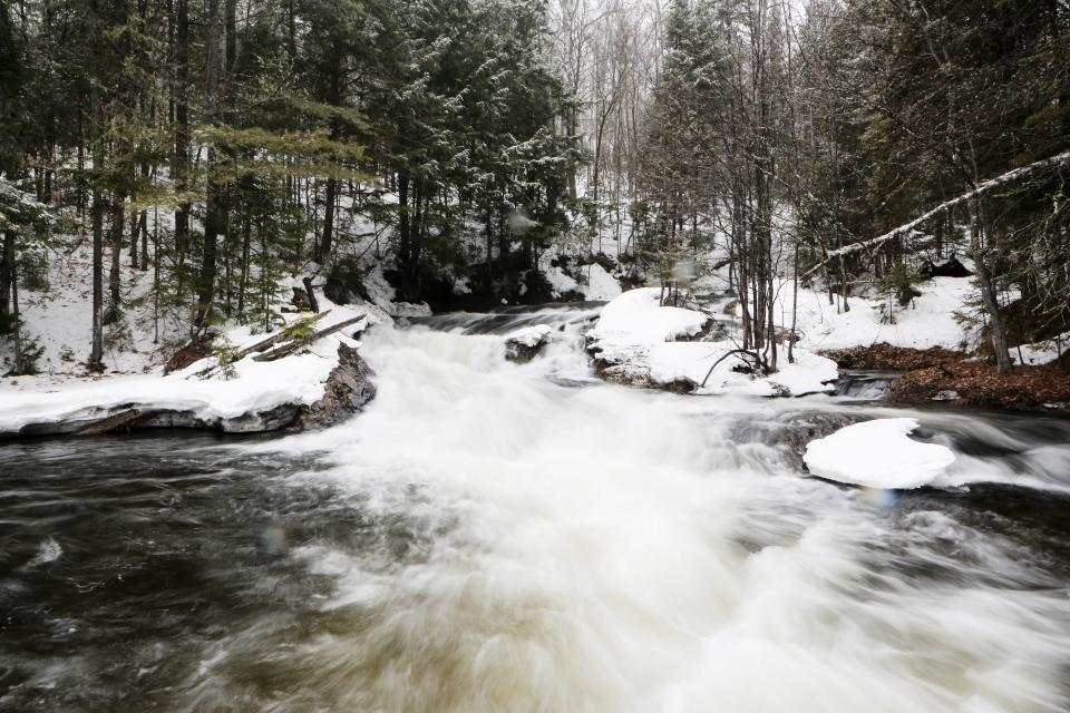 river, stream, water, rocks, outdoors, nature, forest, woods, trees, snow, cold, winter