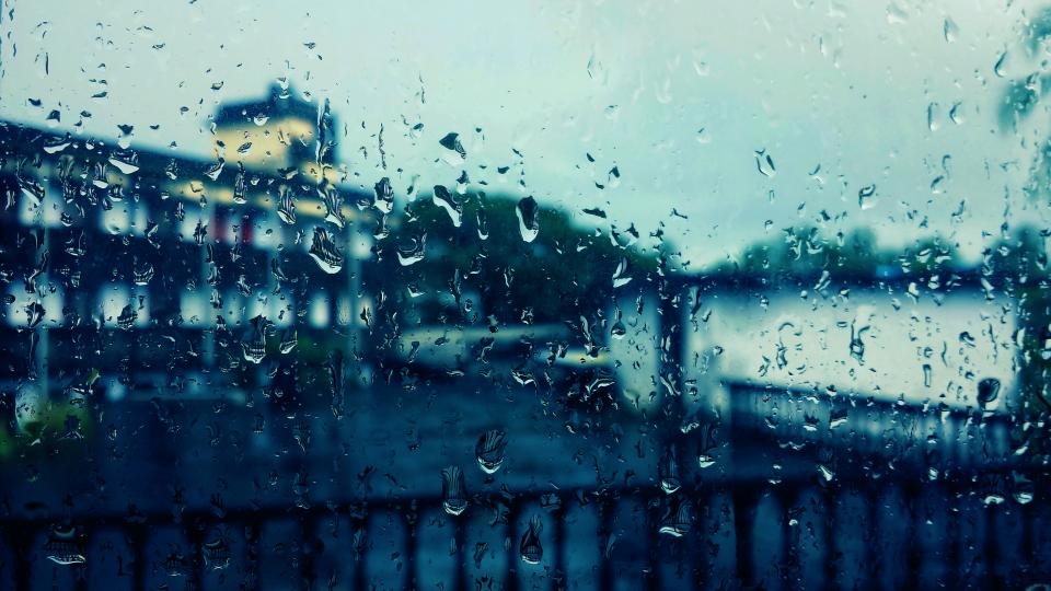 window, raindrops, water, view, buildings, sky