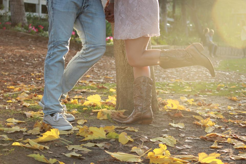 engagement, autumn, cowboy boots, love, couple, romance, romantic, leaves, jeans, sneakers, shoes, people, country