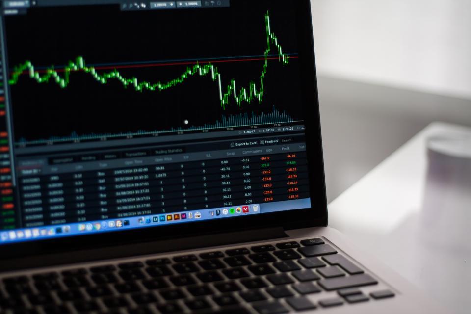 stock market, charts, graphs, finance, money, stocks, macbook, computer, laptop, business, work, office, desk