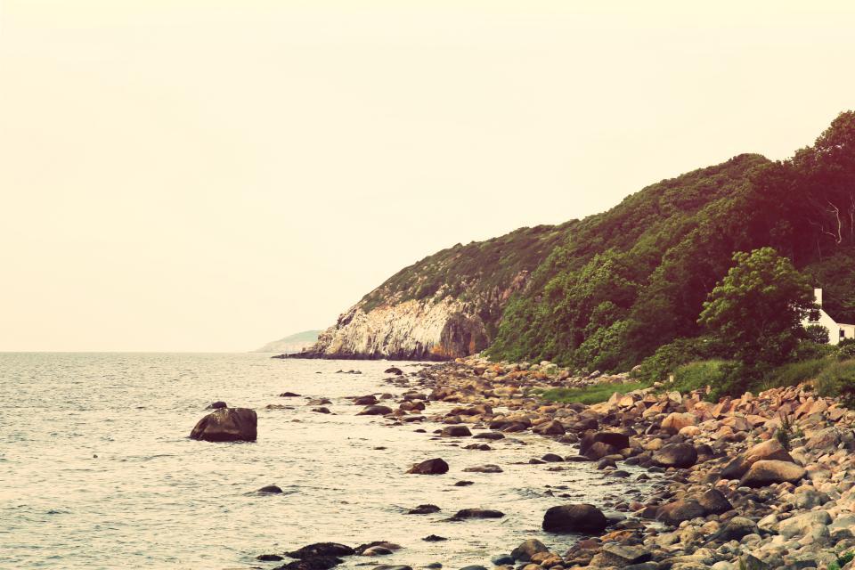 coast, rocks, shore, ocean, sea, horizon, sky, nature