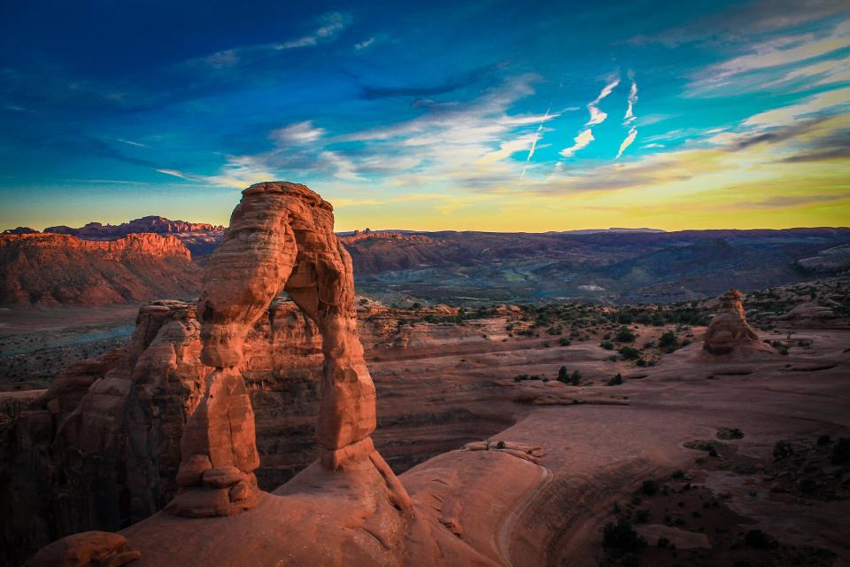canyon, desert, rocks, sky, sunset, dusk, clouds, landscape, nature