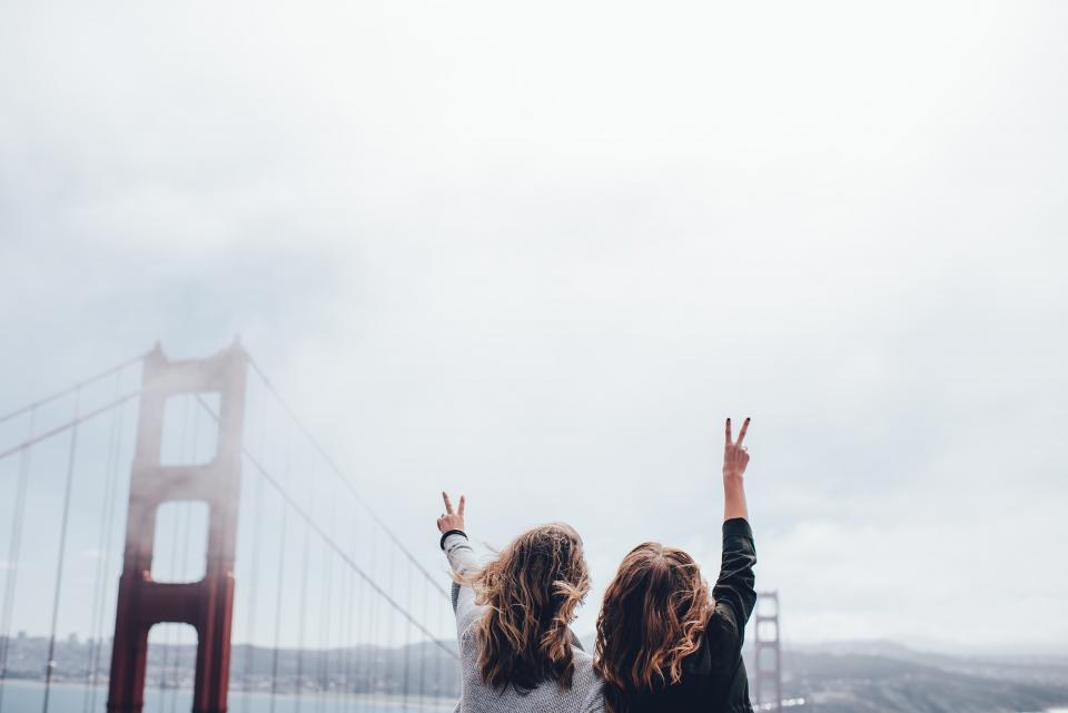 peace, girls, women, people, golden gate bridge, San Francisco, architecture, sky, clouds, cloudy