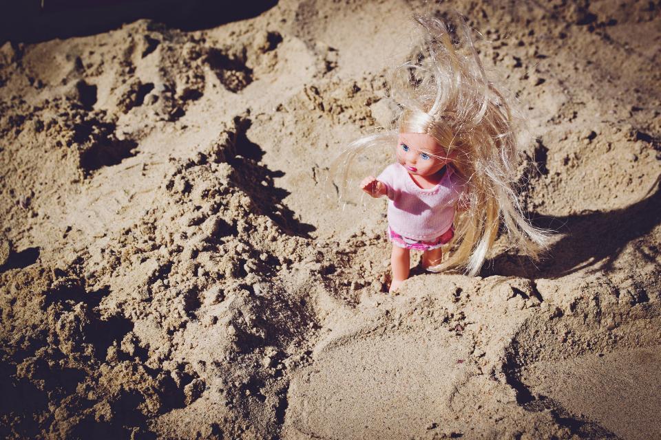 beach, sand, summer, doll, toy, girl