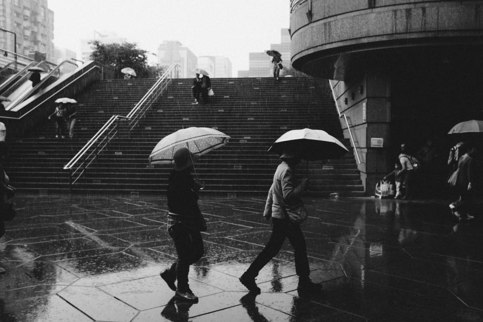 raining, umbrellas, wet, people, pedestrians, walking, city, steps, urban, black and white