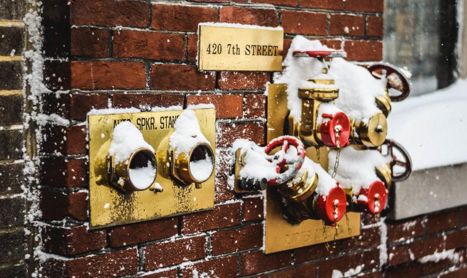 bricks, wall, hoses, street, city, urban, snow, winter, cold
