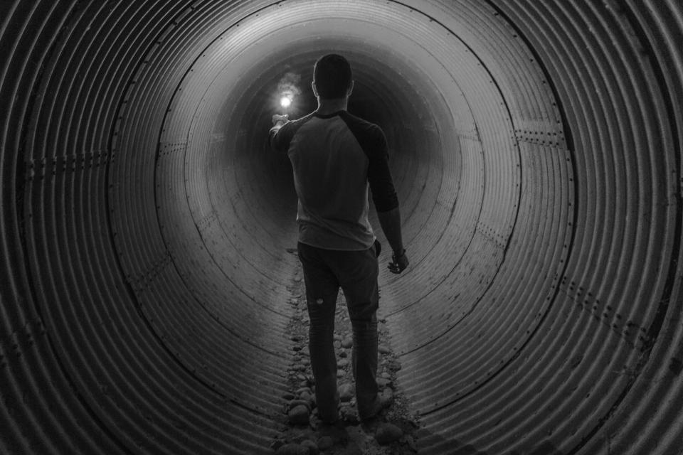guy, flare, tunnel, light, people, black and white