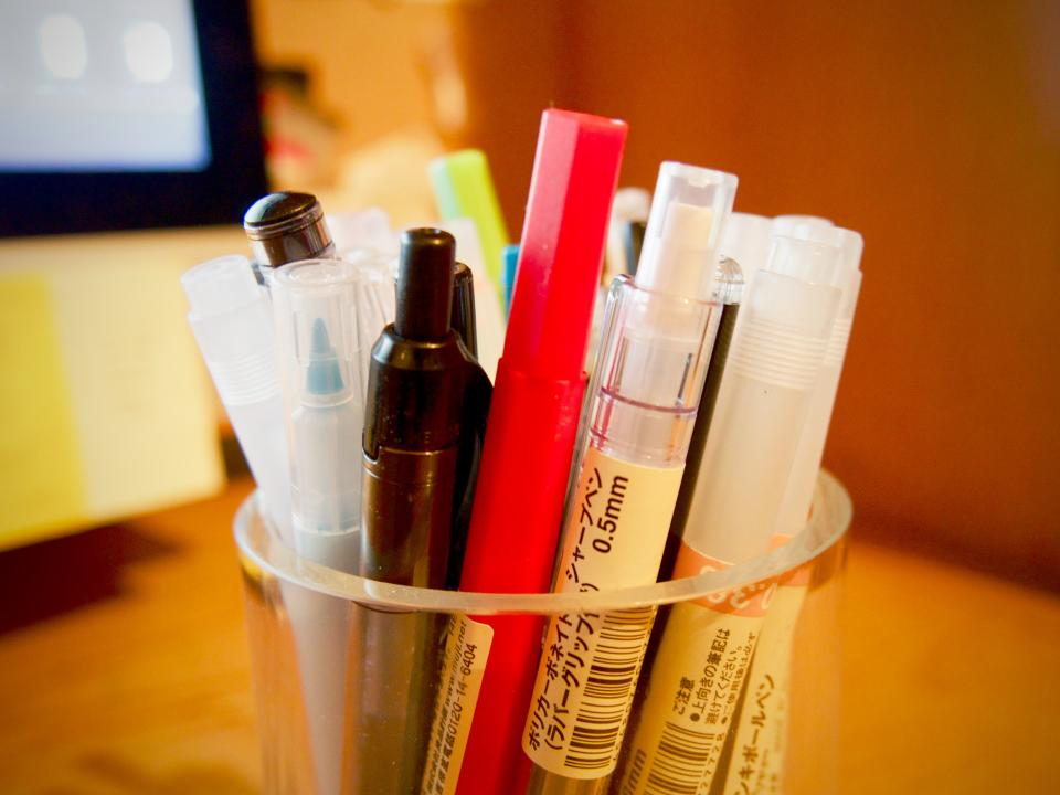 pens, pencils, markers, stationary, business, office
