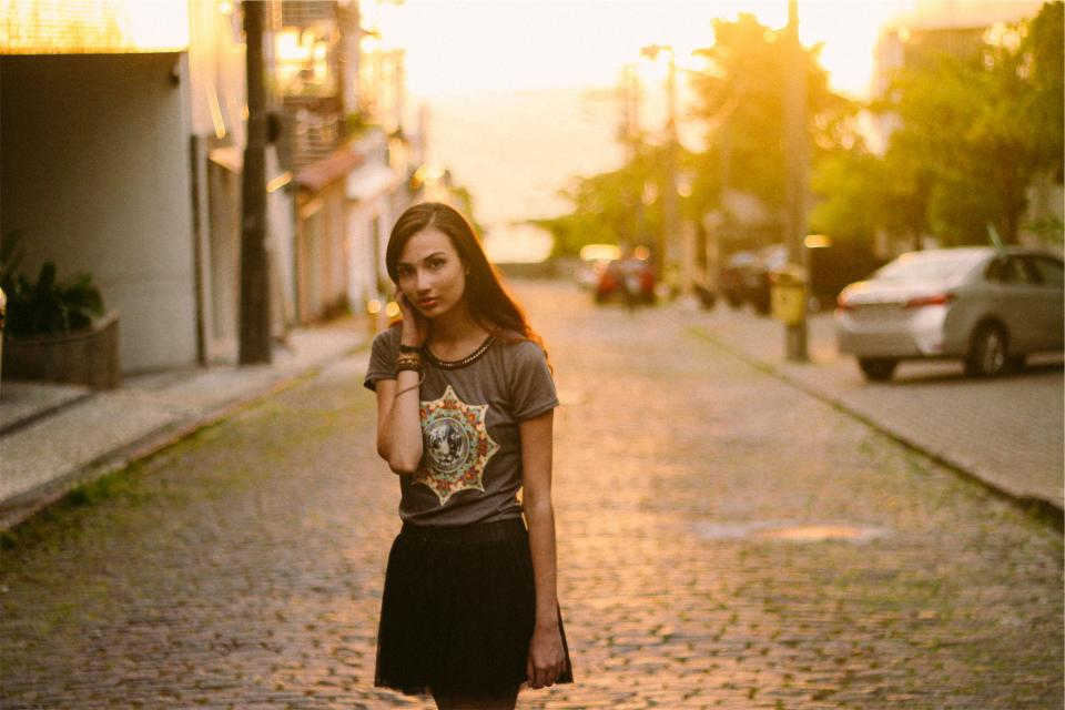 girl, fashion, skirt, tshirt, long hair, brunette, pretty, beautiful, model, cobblestone, people