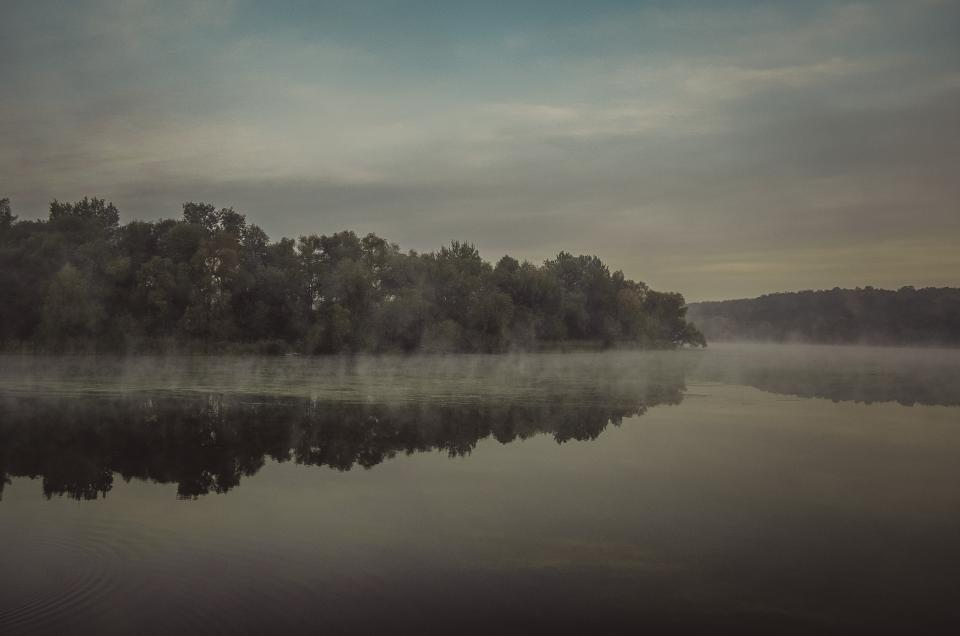 lake, water, fog, foggy, trees, forest, nature, sky, clouds, reflection