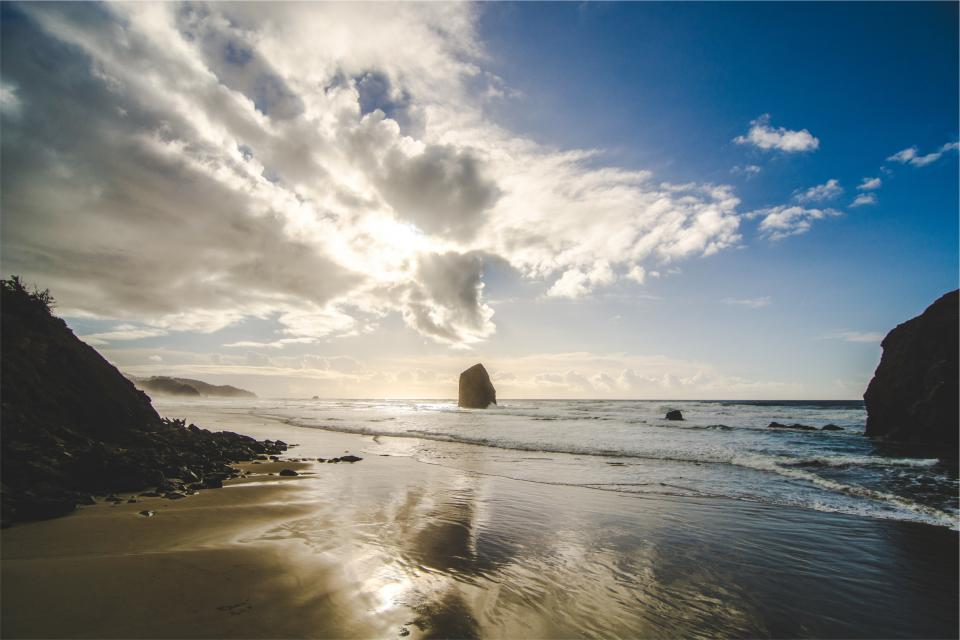 beach, sunshine, sky, clouds, sand, shore, ocean, sea, water, reflection, rocks