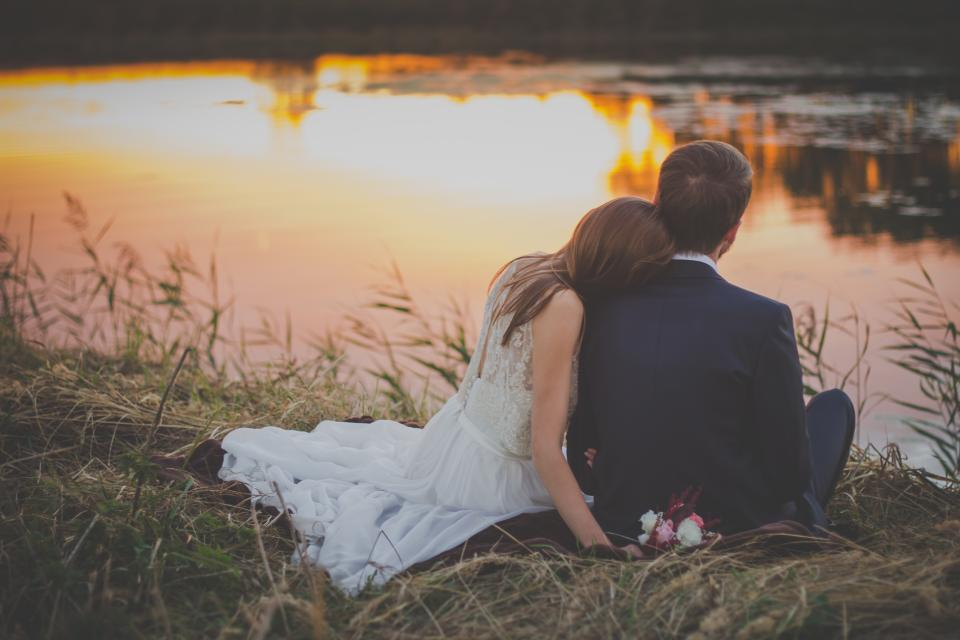 wedding, bride, groom, woman, man, people, love, couple, romance, sunset, lake, water, grass, outdoors, nature