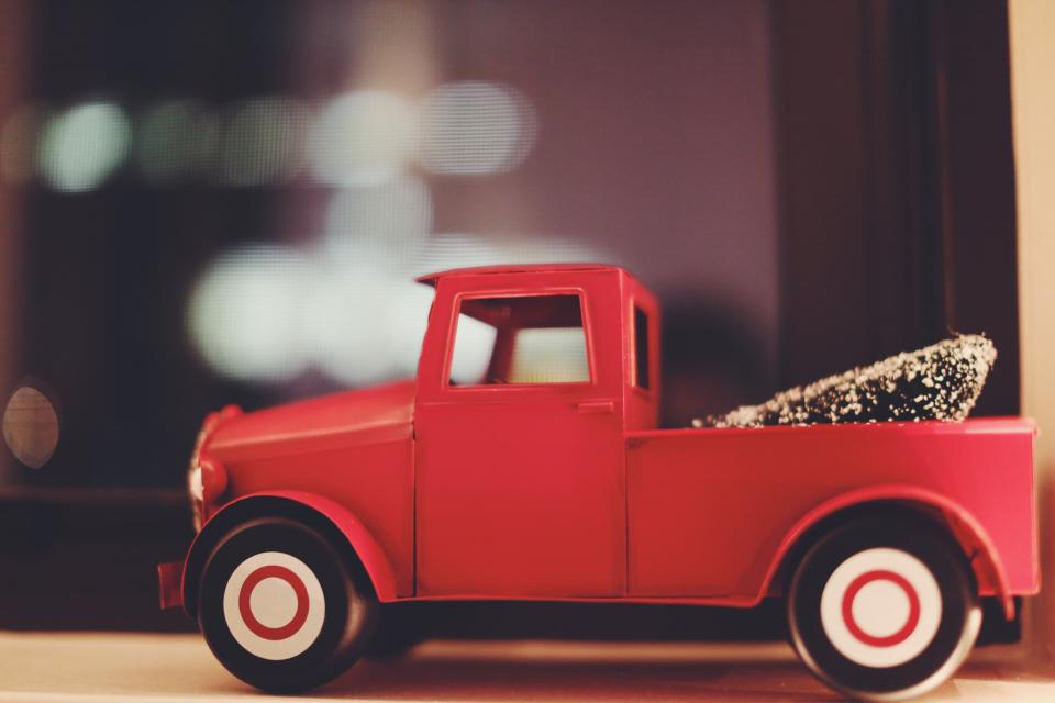 red, truck, toy, decoration, christmas, tree