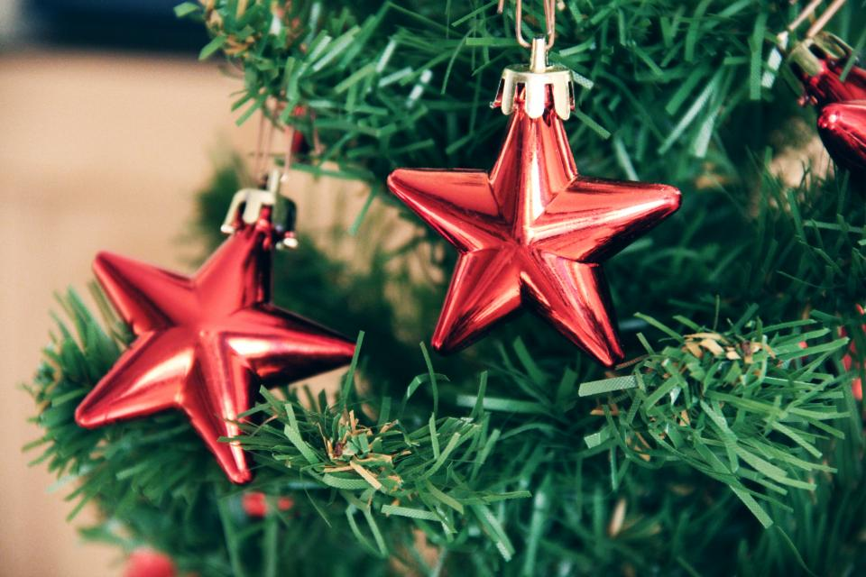 christmas, tree, stars, decorations, ornaments