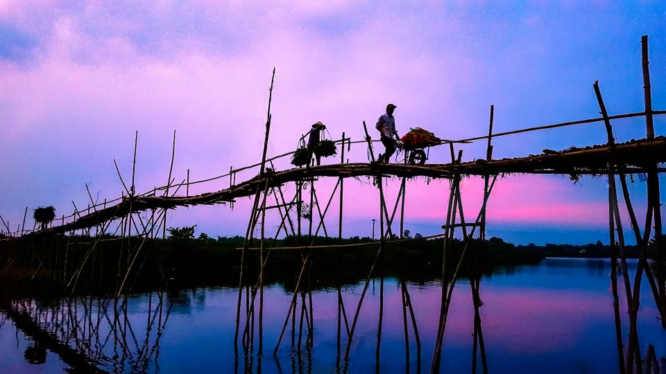 men, people, work, bridge, wood, stilts, support, water, reflection, sky, horizon, clouds, blue, pink