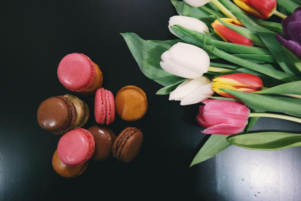 macaroons, dessert, food, tulips, flowers