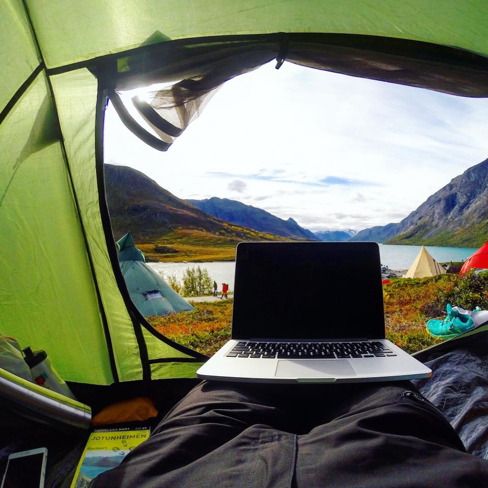 camping, outdoor, travel, adventure, tent, laptop, computer, ipad, shoes, summer, sunny, sunlight, lake, water, mountain, sky, grass, landscape, nature