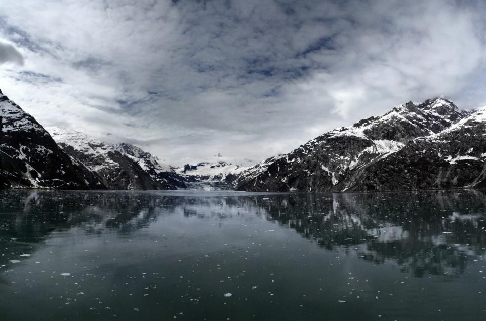 lake, water, reflection, mountains, snow, winter, sky, clouds, landscape, nature, outdoors, adventure