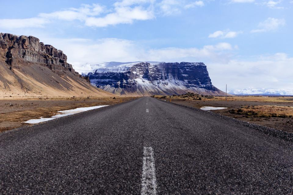 road, highway, rural, countryside, grass, field, rocks, canyons, cliff, nature, landscape, sky