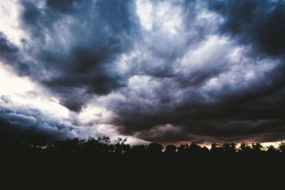 sky, clouds, cloudy, storm, night, dark, evening, dusk, silhouette, shadow