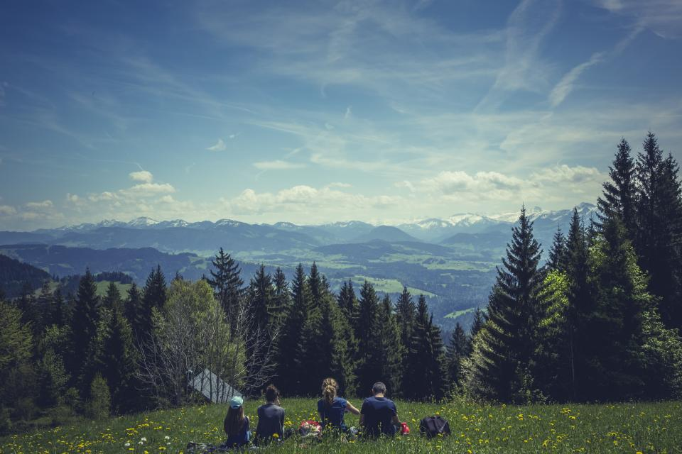 nature, landscape, family, vacation, bonding, hill, mountain, picnic, grass, trees, pine tree, clouds, sky, sightseeing, people, love, group