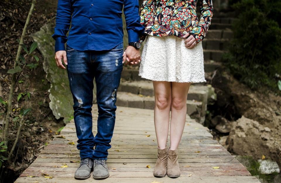 men, women, people, couple, lovers, hold, hands, fashion, style, walkway, wood, panels, concrete, stairs, dirt, soil, pose