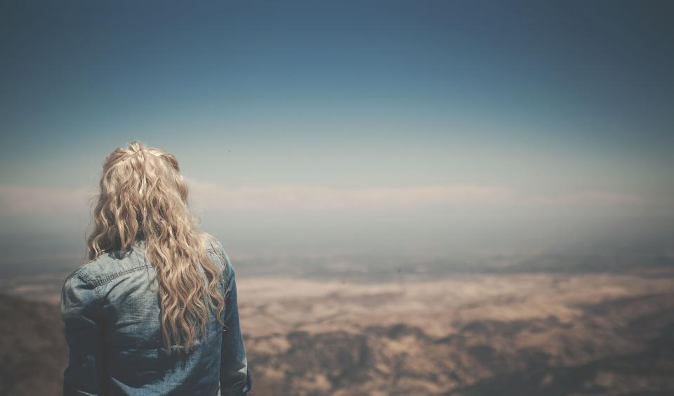 girl, woman, blonde, long hair, curls, denim, jacket, fashion, landscape, sky, looking, lookout, view, people