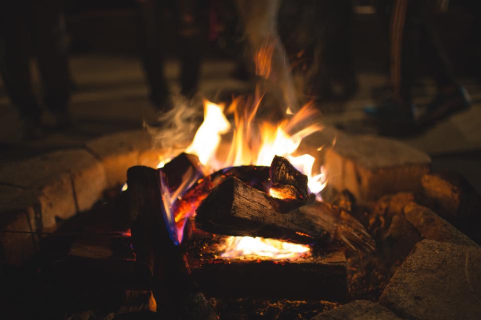 bonfire, fire, flames, wood, logs, camping, outdoors