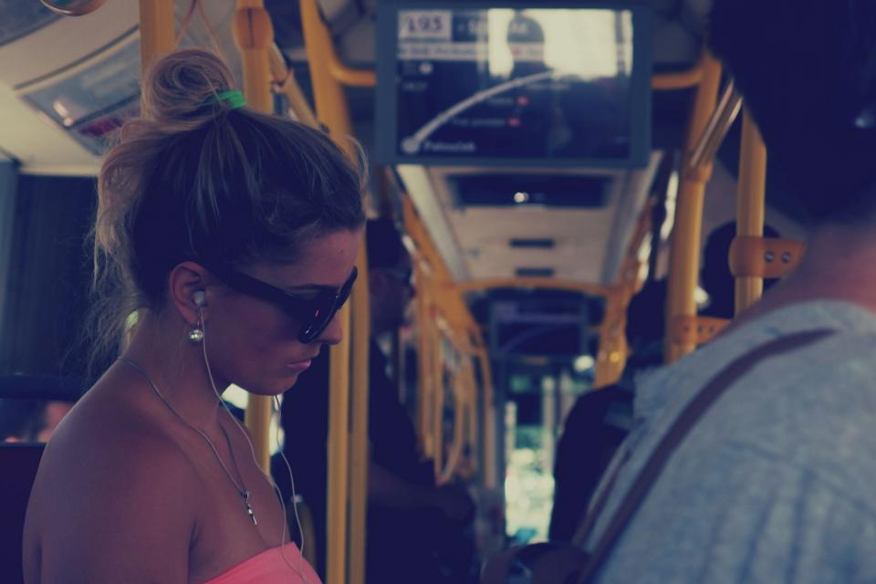 girl, woman, bus, transportation, people, sunglasses, earbuds