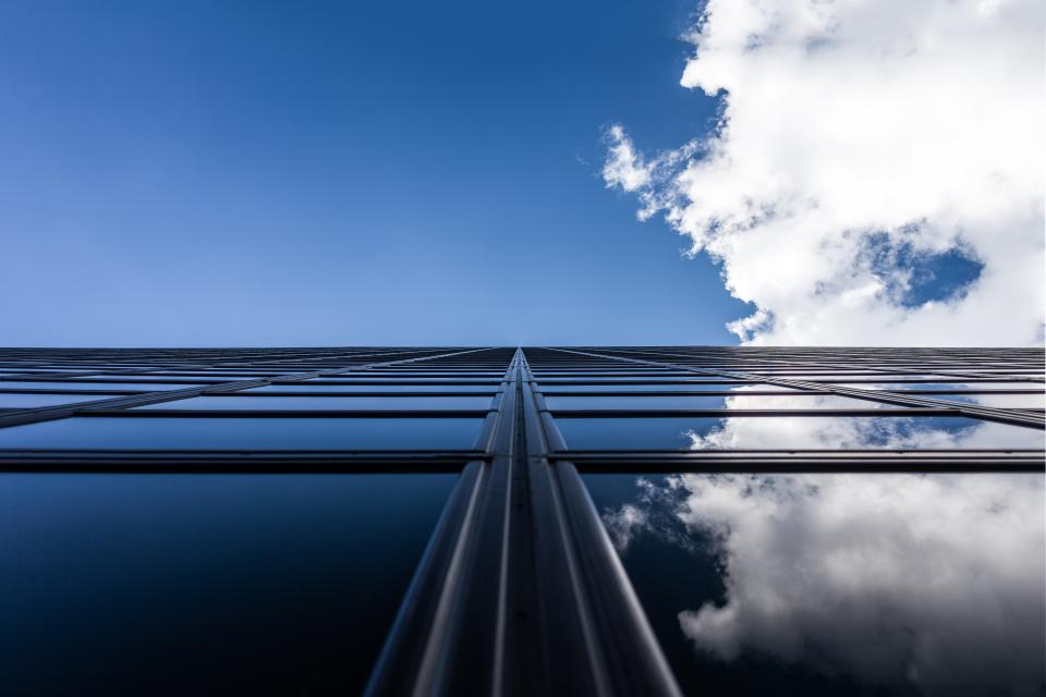 blue, sky, clouds, building, windows, reflection, architecture, city, urban, business, corporate