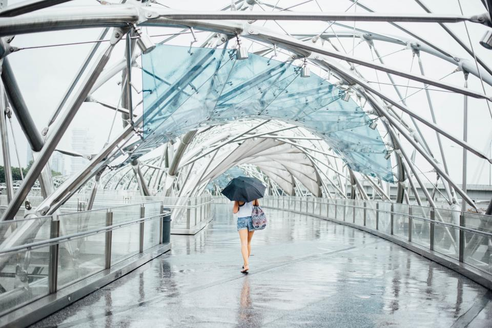 art, rain, symmetry, woman, alone, sad, architecture, structure, infrastructure, building, walking, umbrella
